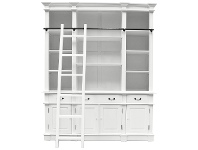 LivingStyles Souvigny Hand Crafted Mahogany Bookcase - Distressed White