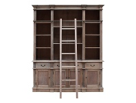 LivingStyles Souvigny Hand Crafted Mahogany Bookcase with Ladder, Weathered Oak