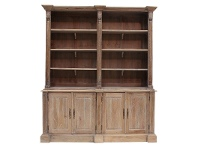 LivingStyles Brioude Solid Mahogany Timber Bookself / Hutch Cabinet, Weathered Oak