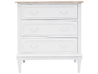 LivingStyles Lapalisse Hand Crafted Mahogany Timber 3 Drawer Chest, White / Weathered Oak