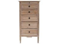 LivingStyles Belley Hand Crafted Mahogany Timber 5 Drawer Tallboy, Weathered Oak
