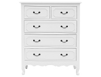 LivingStyles Grandris Hand Crafted Mahogany 5 Drawer Chest with Weathered Oak Top, White