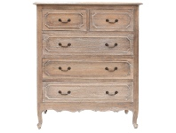 LivingStyles Grandris Hand Crafted Mahogany 5 Drawer Chest, Weathered Oak