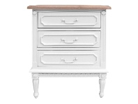 LivingStyles Lapalisse Hand Crafted Mahogany Timber 3 Drawer Bedside Table, White / Weathered Oak