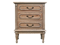 LivingStyles Lapalisse Hand Crafted Mahogany Timber 3 Drawer Bedside Table, Weathered Oak