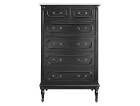 LivingStyles Lapalisse Hand Crafted Solid Mahogany Timber 6 Drawer Tallboy - Distressed Black
