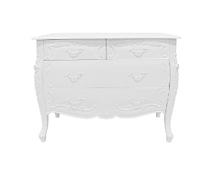 Riom Hand Crafted Mahogany 4 Drawer Chest, White