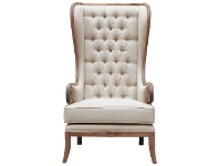 LivingStyles Cortemillia Hand Crafted Mindi Wood Timber Tall Wing Chair, Weathered Oak