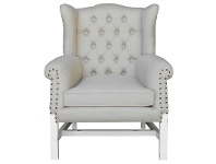 LivingStyles Souillac Hand Crafted Mahogany Wing Back Chair, White