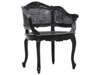 LivingStyles Vaugneray Hand Crafted Mahogany Bergere Chair, Black