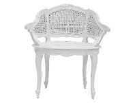 LivingStyles Vaugneray Hand Crafted Mahogany Bergere Chair, White