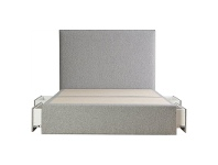 LivingStyles Maxwell's Fabric Ensemble Bed Base with Side Drawers, Double, Light Grey