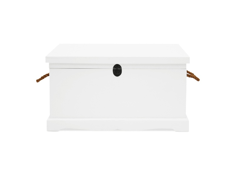 Larajasse Large Hand Crafted Mahogany Blanket Box, White