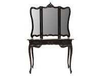 LivingStyles Septeme Hand Crafted Mahogany Dressing Table with Mirror, Black