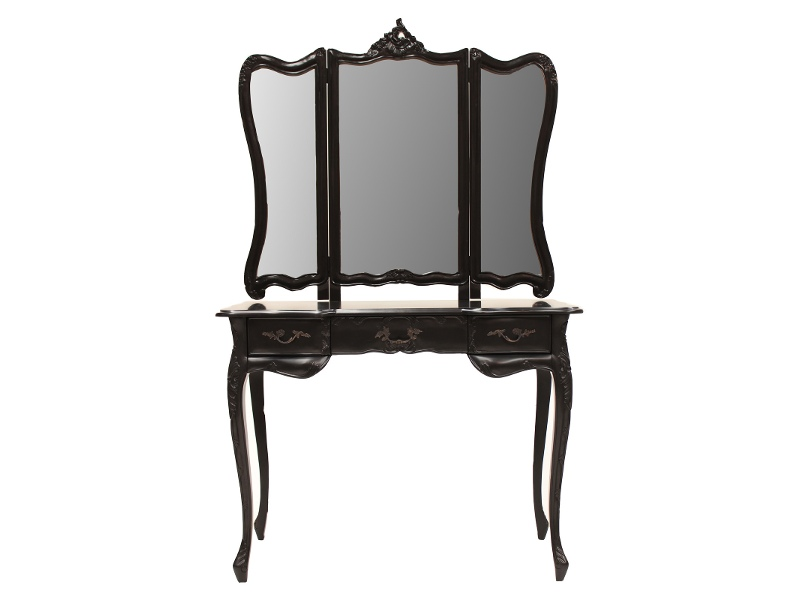 Septeme Hand Crafted Mahogany Dressing Table with Mirror, Black