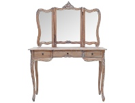 LivingStyles Septeme Hand Crafted Mindi Wood Timber Dressing Table with Mirror, Weathered Oak