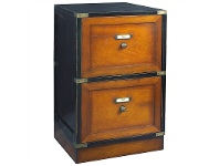 Cape Cod Solid Timber 2 Drawer File Cabinet, Black