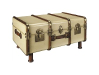 LivingStyles Stateroom Solid Timber Trunk Table, Ivory