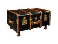 LivingStyles Stateroom Solid Timber Trunk Table, Black