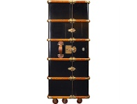 LivingStyles Stateroom Solid Timber Armoire Trunk, Black