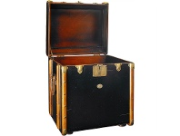 LivingStyles Stateroom Solid Timber Trunk Side Table, Black
