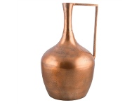 LivingStyles Annora Small Aluminium Long Neck Vase with Handle - Raw Copper
