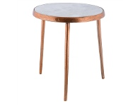 LivingStyles Annora Stone Top Aluminium Round Side Table, Small, Raw Copper