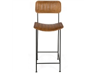 LivingStyles Carolus Ribbed Leather and Iron Bar Stool
