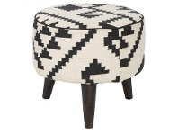 LivingStyles Kilim Fabric & Solid Timber Round Stool