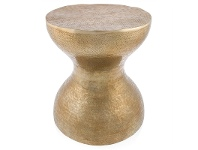 LivingStyles Bubble Hammered Aluminium Hourglass Stool
