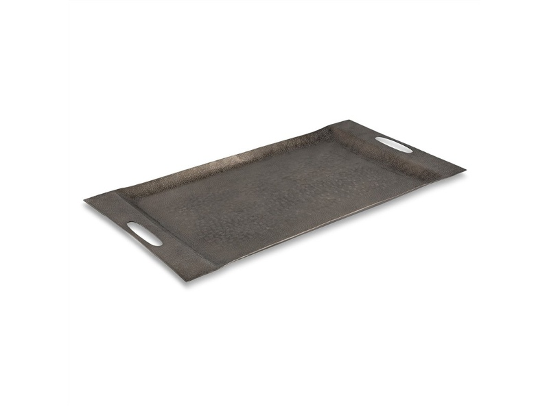 Zari Aluminium Rectangular Tray, Large, Smoky Black