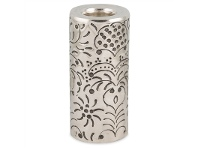 LivingStyles Mireille French Embossed Aluminium Round Pillar Tealight Holder, Large, Antique Silver
