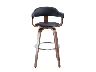 Millan Bentwood Swivel Bar Chair, Black / Walnut