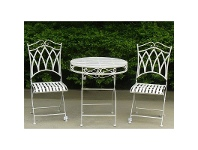 LivingStyles Albany 3 Piece Iron Round Garden Table Set, 70cm