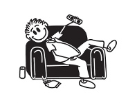 LivingStyles Couch Man Funny Family Car Sticker