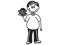 LivingStyles Burger Man Funny Family Car Sticker