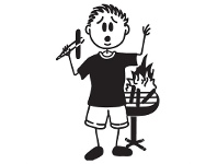 LivingStyles BBQ Fire Man Funny Family Car Sticker
