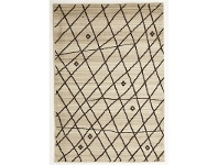 LivingStyles Egyptian Made Moroccan Random Lines Design Rug in Cream - 230x160cm