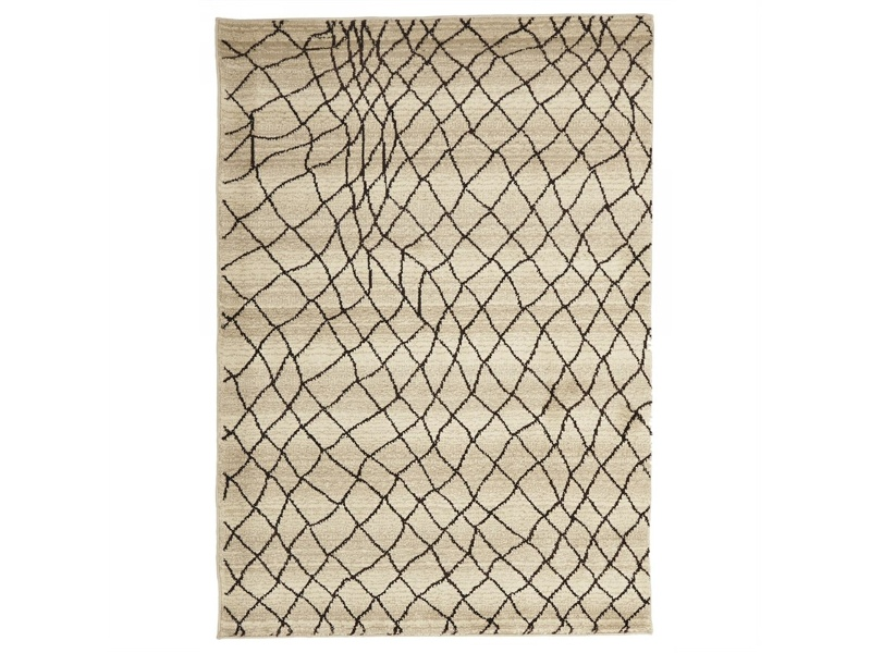 Egyptian Made Moroccan Web Design Rug in Cream - 230x160cm