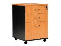 LivingStyles Logan 2 Drawer & File Combo Mobile Pedestal, Beech / Black
