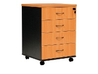 LivingStyles Logan 4 Drawer Mobile Pedestal, Beech / Black