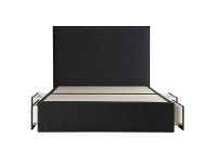 LivingStyles Maxwell's Fabric Ensemble Bed Base with Side Drawers, Queen, Charcoal