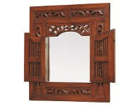 LivingStyles Solid Mahogany Frame Prison Mirror (X-Large) - Mahogany