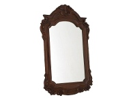 LivingStyles Solid Mahogany Carved Frame Mirror - Chocolate