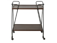LivingStyles Atticus 2 Tier Drinks Trolley, Dark Brown