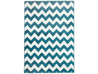 LivingStyles Zig Zag Egyptian Made Indoor/Outdoor Rug in Peacock Blue - 290x200cm