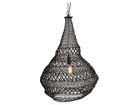 LivingStyles Fez Iron Wire Pendant Light, Black