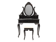LivingStyles Champier Hand Crafted Mahogany Dressing Table with Stool, Black