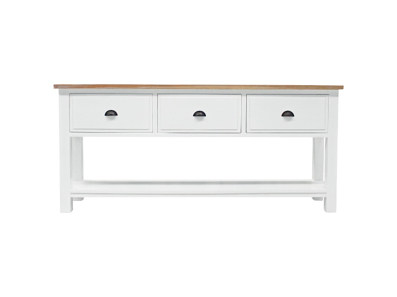 Ceva Hand Crafted Mahogany 3 Drawer Console Table with Weathered Oak Top, White