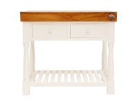 LivingStyles Roybon Hand Crafted Mahogany Butcher Block - Distressed White
